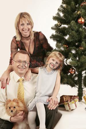 Папа, мама, дочка и собачка рядом с елкой