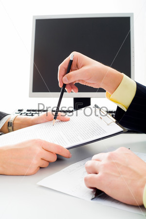 Image of a people interacting on the background of computer