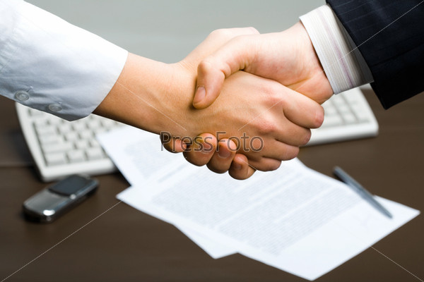 Successful deal: people shaking hands at business meeting