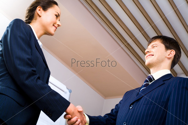 Business handshake meaning a successful bargain of two partners