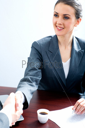 Portrait of professional making an agreement with her business partner