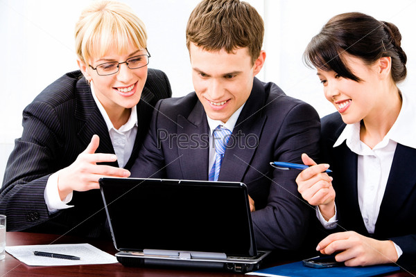 Business team of three people working together