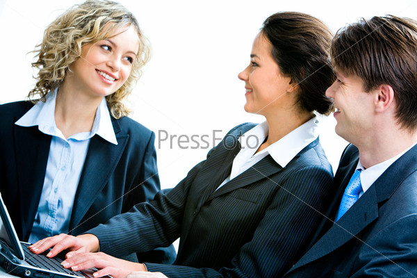 Portrait of business people looking at woman at interview