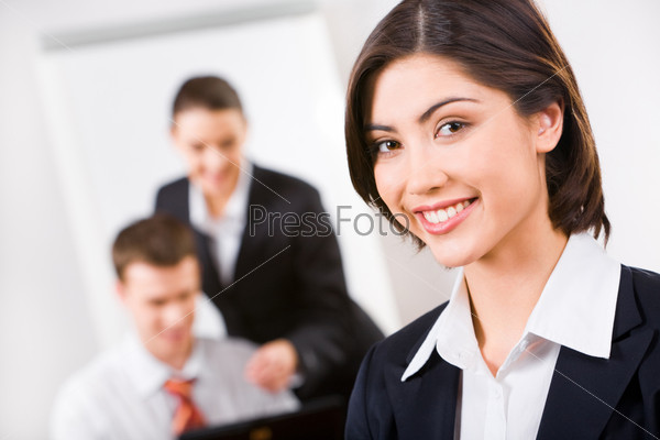 Executive consultant with happy smile on a working environment