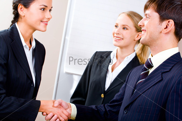 Image of confident business partners shaking hands in the office