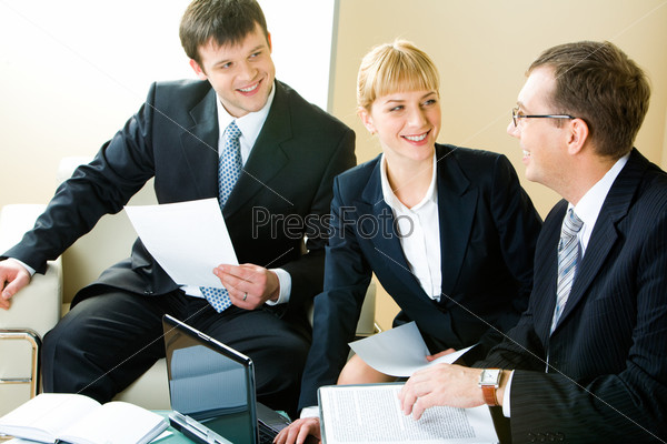 Business man and woman looking at boss of company during  negotiations