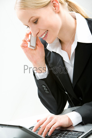Portrait of attractive operator doing her work – consulting