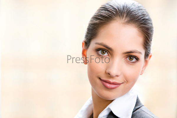Face of beautiful business woman isolated on a white background