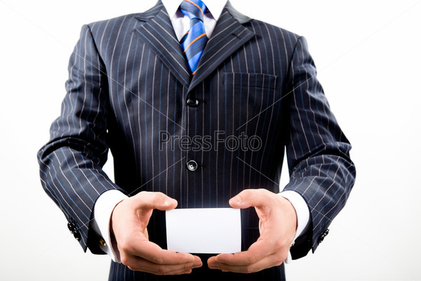 Horizontal image of business man presenting his business card