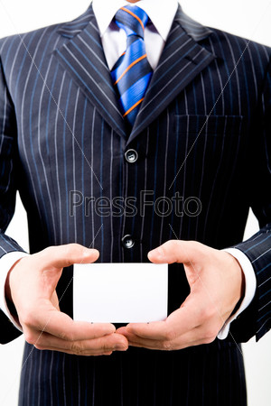 Image of business man in suit holding his salutatory card