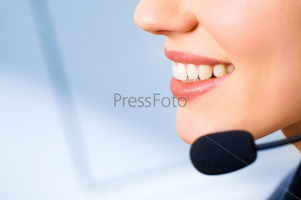Image of mouth of consultant with smile isolated on a blue background