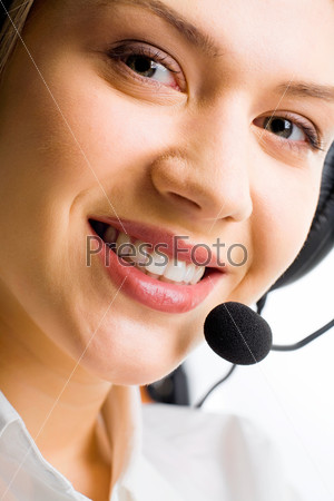 Face of attractive Customer Support Representative  with a smile