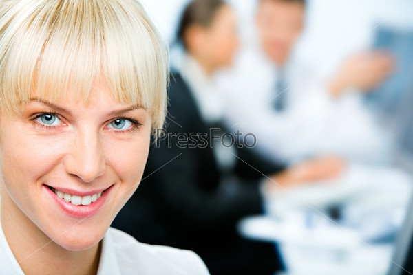 Closeup of smiling businesswoman's face