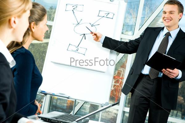 Две деловые женщины смотрят на доску, а мужчина показывает свой проект