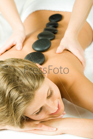 Attractive woman recovery of her health in the salon