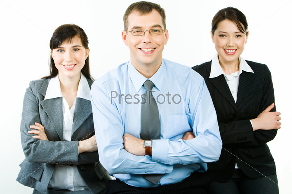 Portrait of successful business partners folding their arms and looking at camera