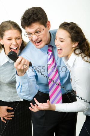 Portrait of business people shouting on the telephone