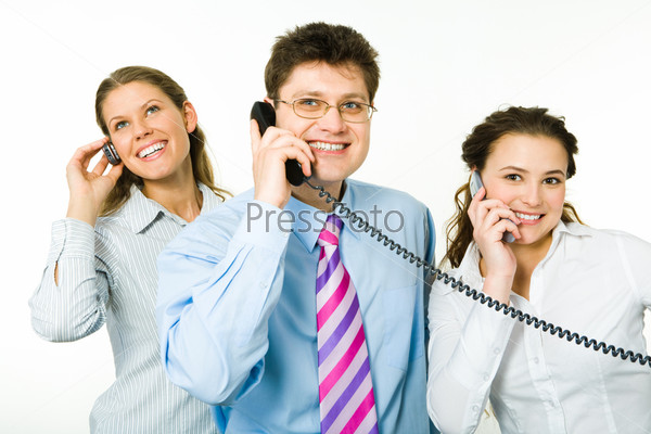 Portrait of three consultants speaking on the telephones