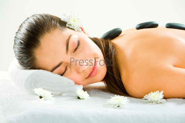 Image of young beautiful girl sleeping during a therapy