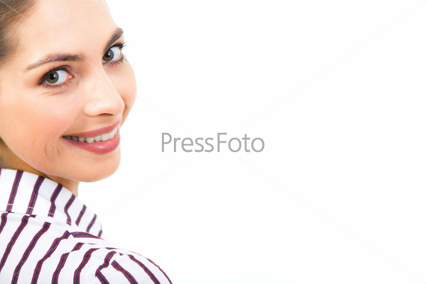 up of woman's face looking at camera with smile on white background