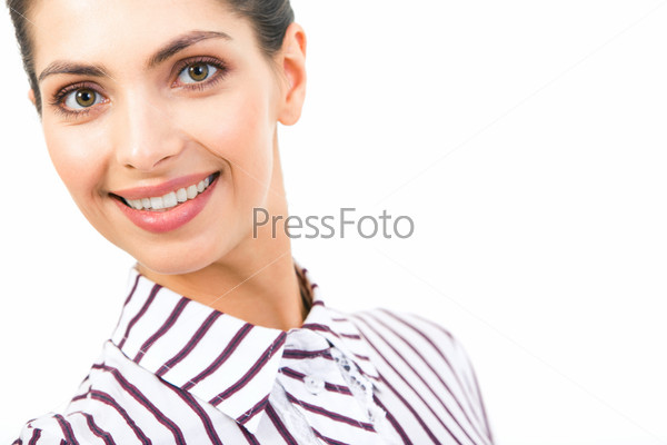 Portrait of smart smiling business lady looking at camera