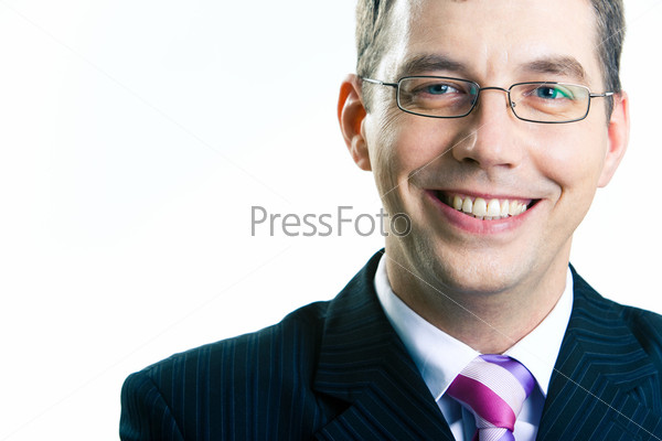 Portrait of businessman with glasses on a white background