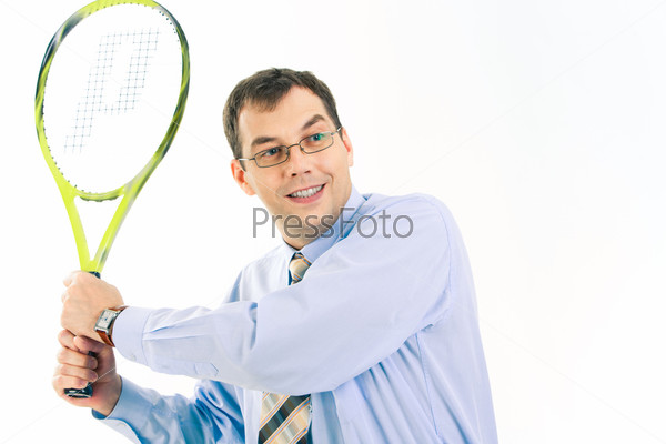 Image of businessman holding the racket on a white background