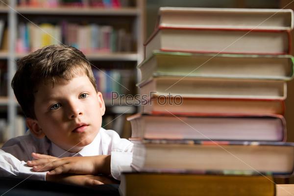 Лицо прилежного школьника, который внимательно смотрит на стопку учебников лежащих перед ним на столе