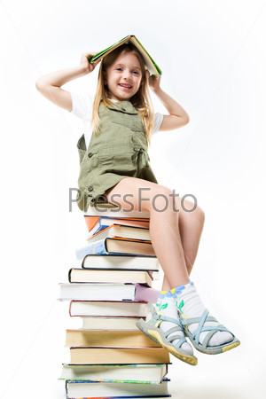 Schoolgirl with books