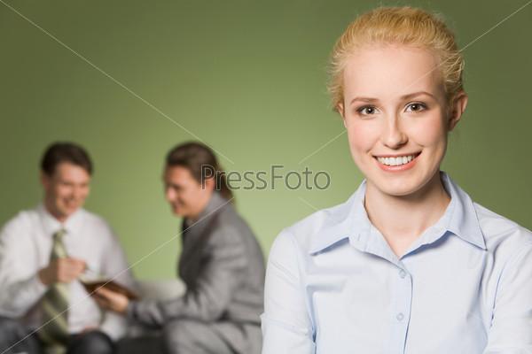 Крупный план лица деловой женщины