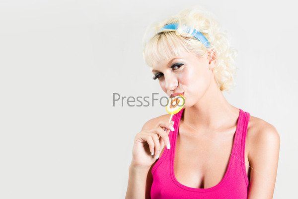 Blonde with lollipop