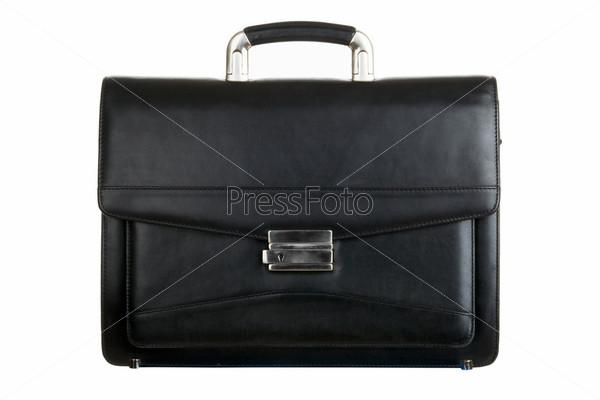 Черный кожанный портфель на белом фоне