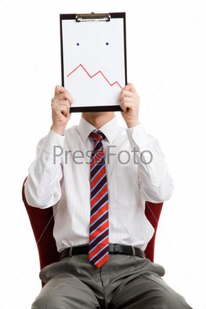 Начальник держит перед лицом лист бумаги,  который изображает затруднение