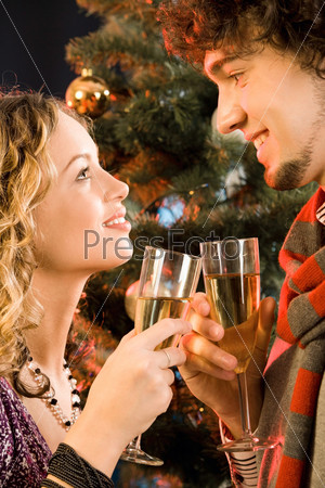 Portrait of amorous couple holding the glasses of champagne at christmas