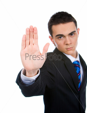 Ладонь вытянутой руки строгого бизнесмена на белом фоне