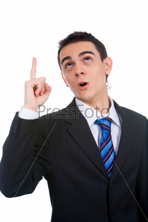 Portrait of smart man full of excellent ideas with raised forefinger over white background