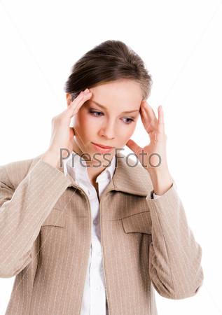 Фотография на тему Бизнес леди с головной болью держиться за голову на белом фоне