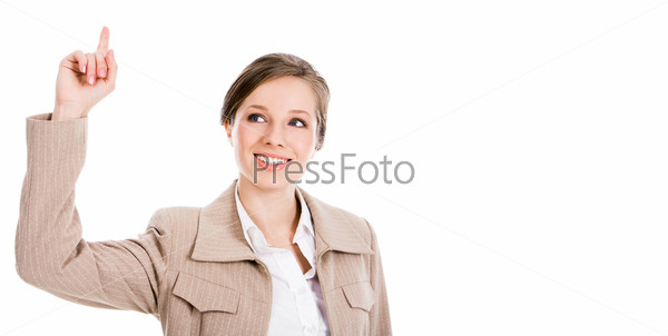 Бизнес леди на белом фоне поднимает вверх указательный палец