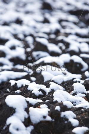 Белый снег на черной земле осенним днем