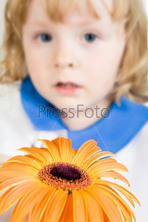 Крупный план оранжевого цветка на фоне детского лица
