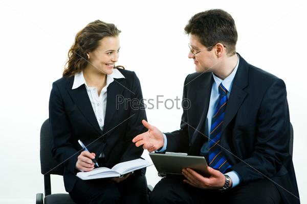 Фотография на тему Бизнесмен дает совет по работе девушке