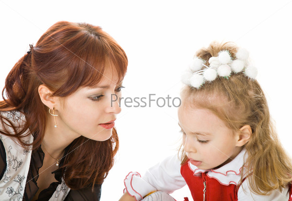 Mother and daughter over white