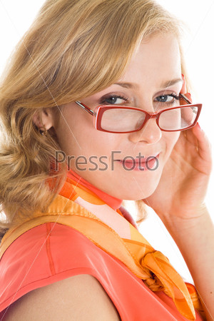 Young blond woman in glasses