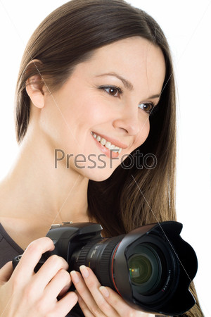 Portrait of a beautiful young woman with camera