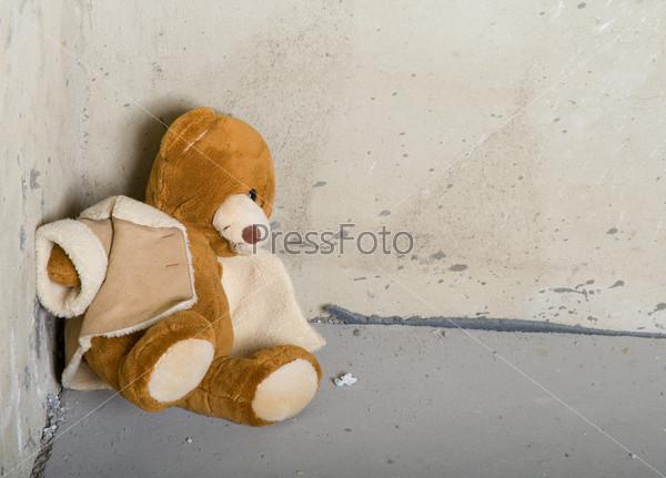Teddy bear in corner