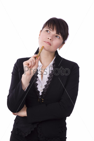 Businesswoman with pen
