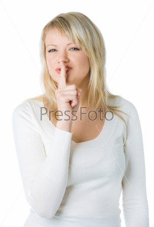 Blonde woman with silence sign