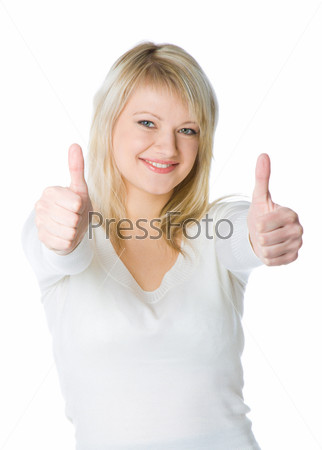 Attractive young blond woman with two thumbs up with a laughing