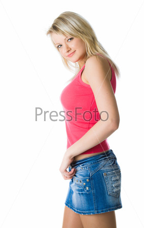 Young attractive woman in miniskirt
