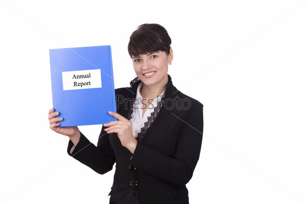 Business woman with annual report